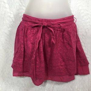 Hot pink SO small layered mini skirt lace belt